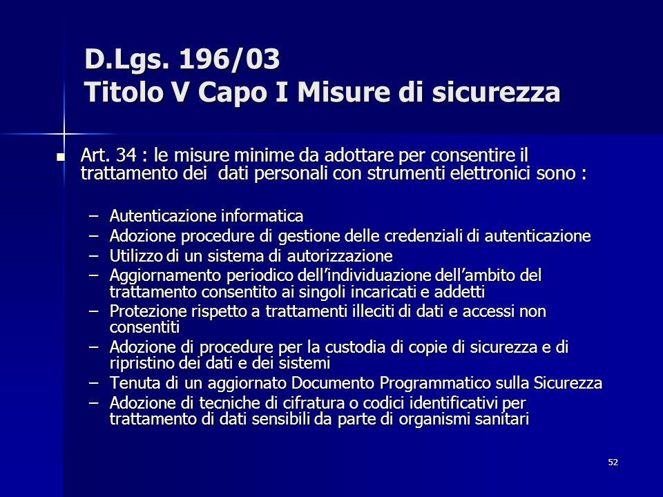 52 D.Lgs. 196/03 Titolo V Capo I Misure di sicurezza Art. 34 : le misure minime da adottare per consentire il trattamento dei dati personali con strum
