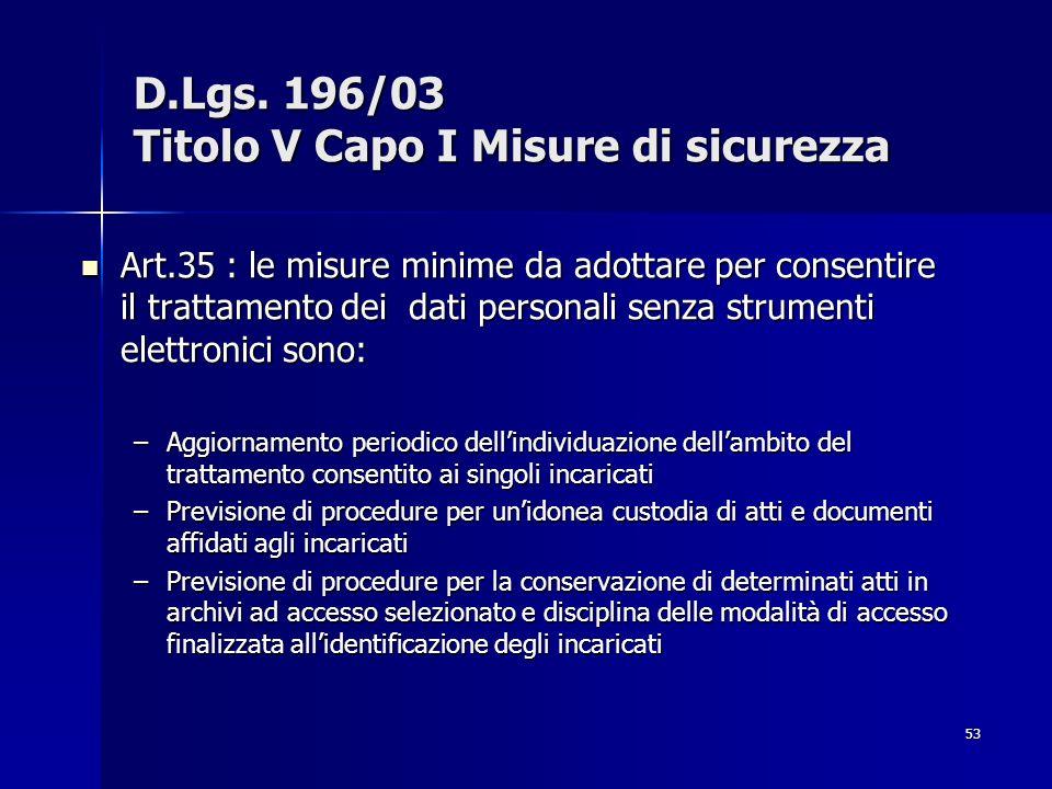53 D.Lgs. 196/03 Titolo V Capo I Misure di sicurezza Art.35 : le misure minime da adottare per consentire il trattamento dei dati personali senza stru