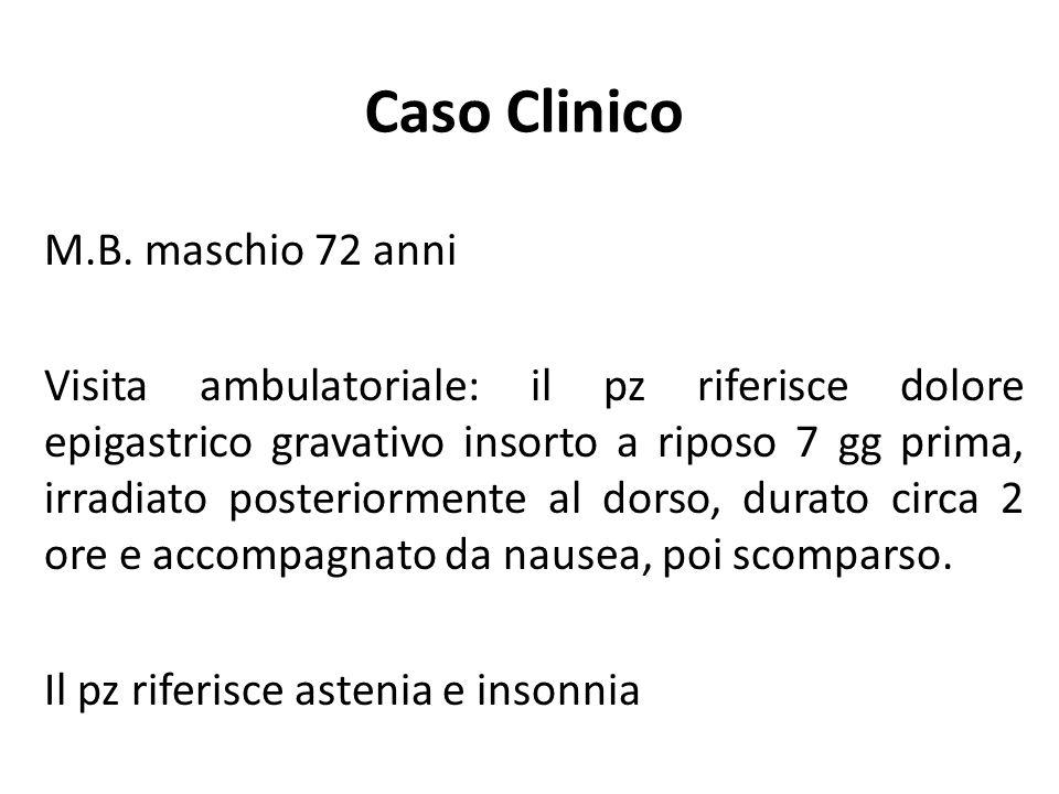 Caso Clinico M.B. maschio 72 anni Visita ambulatoriale: il pz riferisce dolore epigastrico gravativo insorto a riposo 7 gg prima, irradiato posteriorm