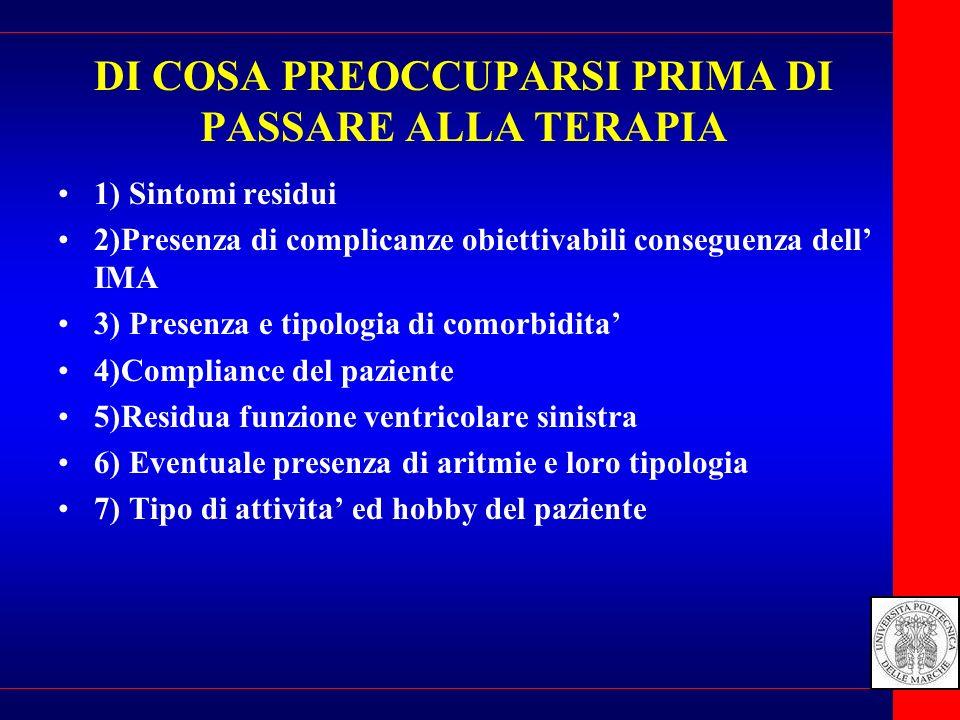 DI COSA PREOCCUPARSI PRIMA DI PASSARE ALLA TERAPIA 1) Sintomi residui 2)Presenza di complicanze obiettivabili conseguenza dell IMA 3) Presenza e tipol