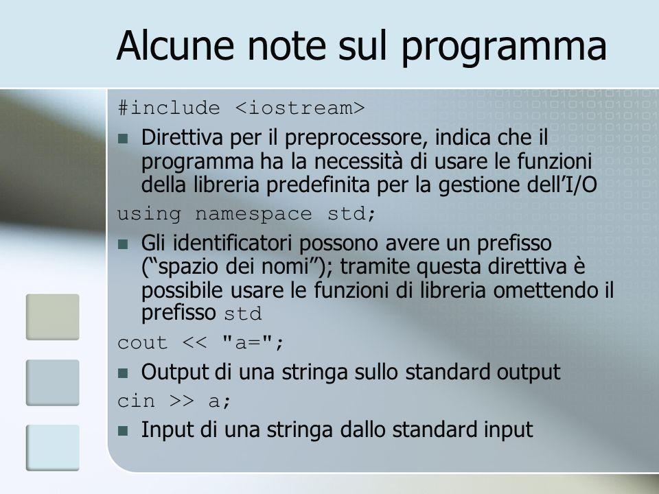Alcune note sul programma #include Direttiva per il preprocessore, indica che il programma ha la necessità di usare le funzioni della libreria predefi