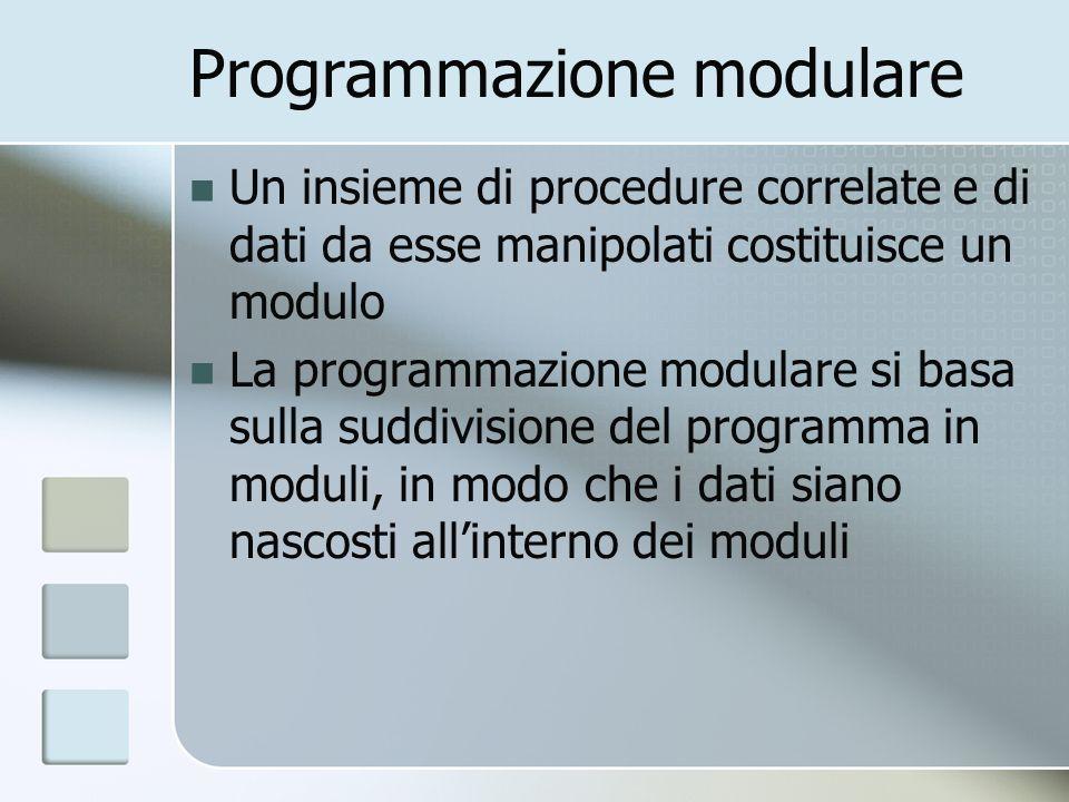 Programmazione modulare Un insieme di procedure correlate e di dati da esse manipolati costituisce un modulo La programmazione modulare si basa sulla