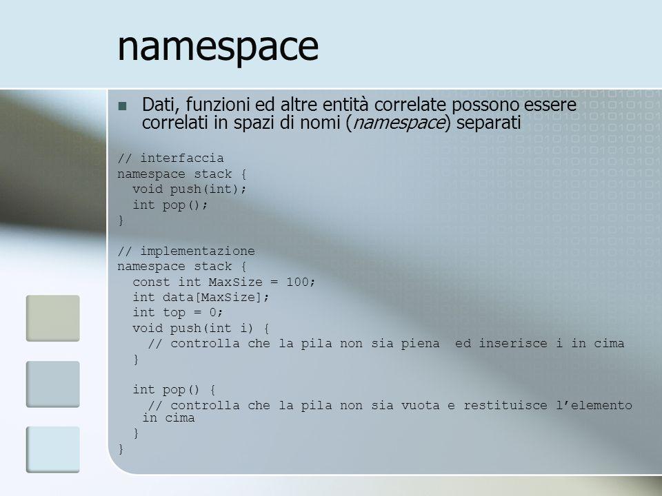 namespace Dati, funzioni ed altre entità correlate possono essere correlati in spazi di nomi (namespace) separati // interfaccia namespace stack { voi