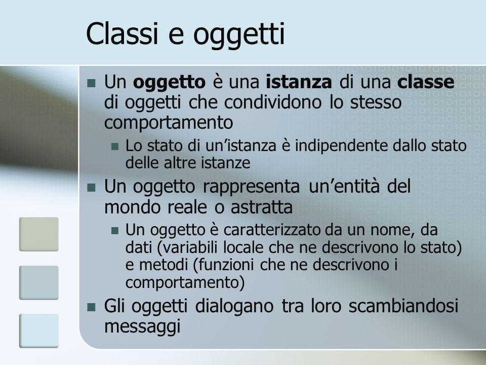 Classi e oggetti Un oggetto è una istanza di una classe di oggetti che condividono lo stesso comportamento Lo stato di unistanza è indipendente dallo