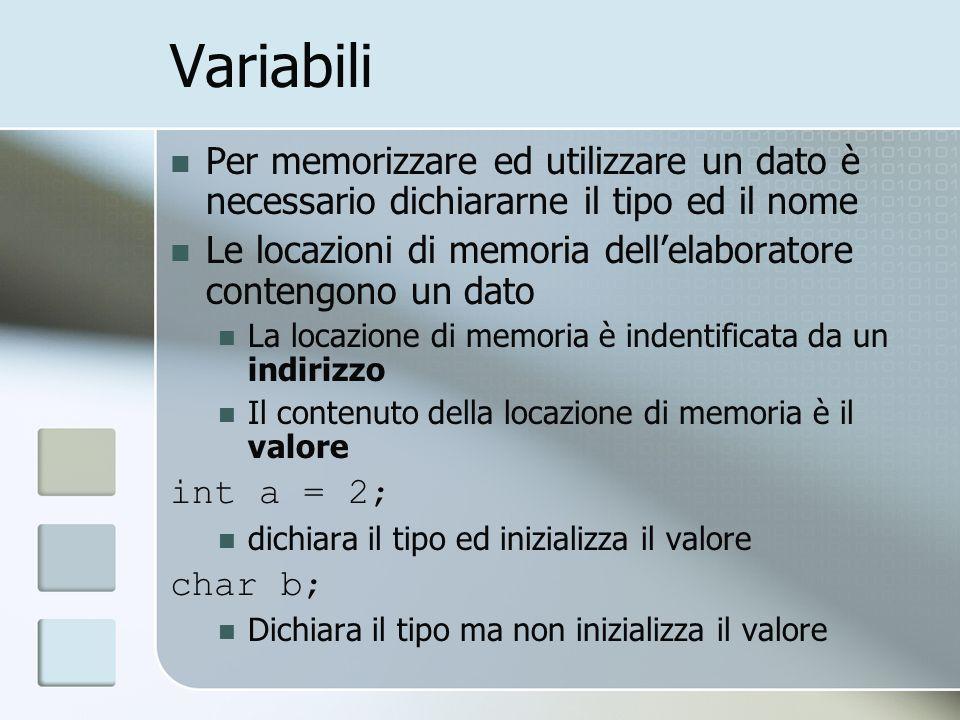 Variabili Per memorizzare ed utilizzare un dato è necessario dichiararne il tipo ed il nome Le locazioni di memoria dellelaboratore contengono un dato