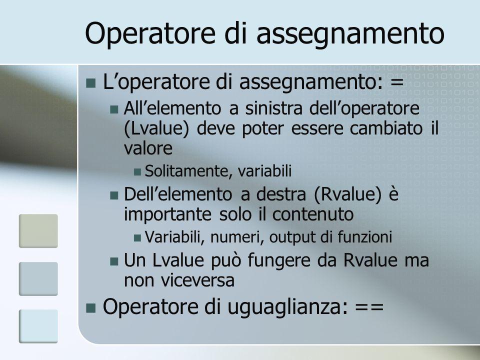 Operatore di assegnamento Loperatore di assegnamento: = Allelemento a sinistra delloperatore (Lvalue) deve poter essere cambiato il valore Solitamente