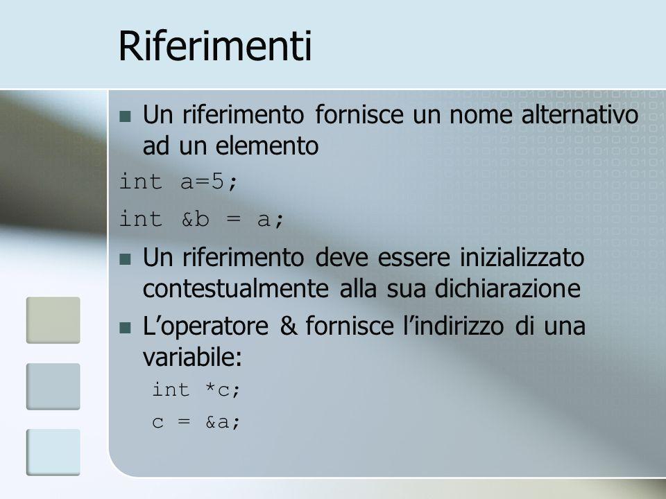 Riferimenti Un riferimento fornisce un nome alternativo ad un elemento int a=5; int &b = a; Un riferimento deve essere inizializzato contestualmente a