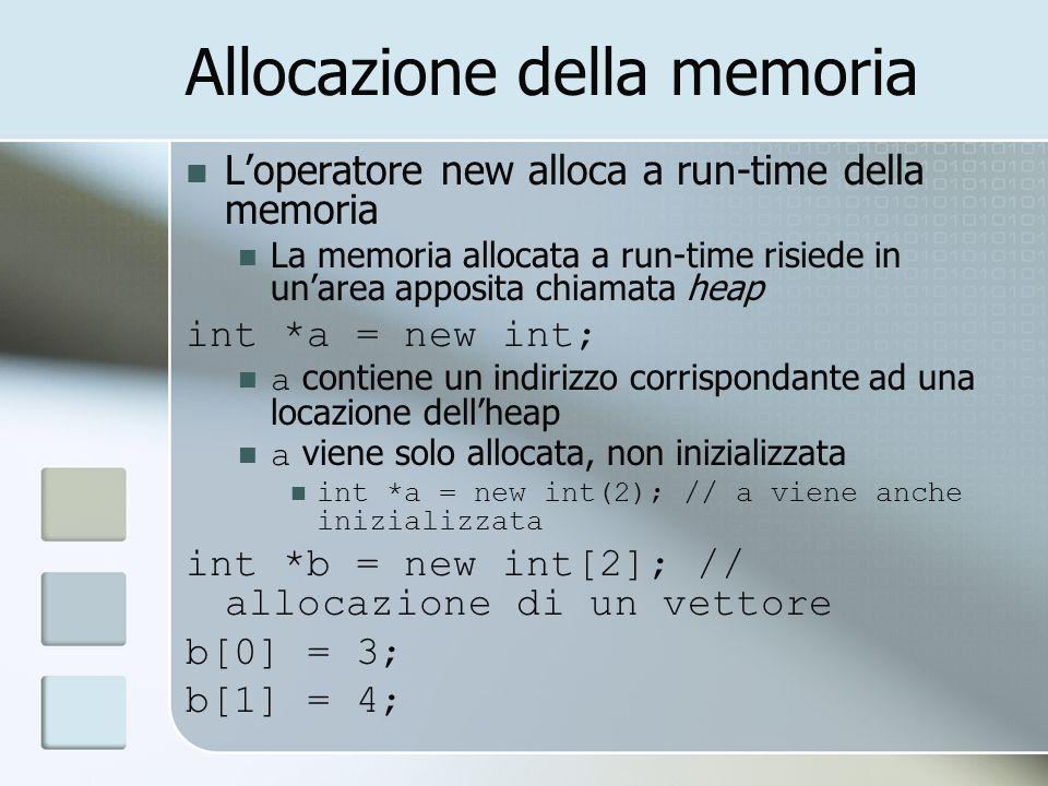 Allocazione della memoria Loperatore new alloca a run-time della memoria La memoria allocata a run-time risiede in unarea apposita chiamata heap int *