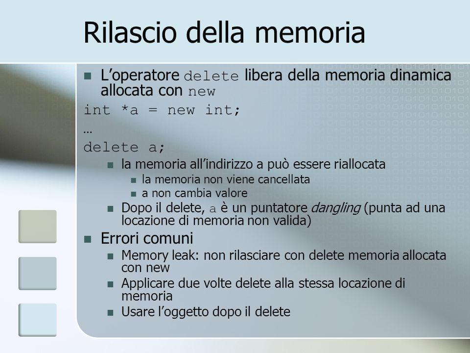 Rilascio della memoria Loperatore delete libera della memoria dinamica allocata con new int *a = new int; … delete a; la memoria allindirizzo a può es