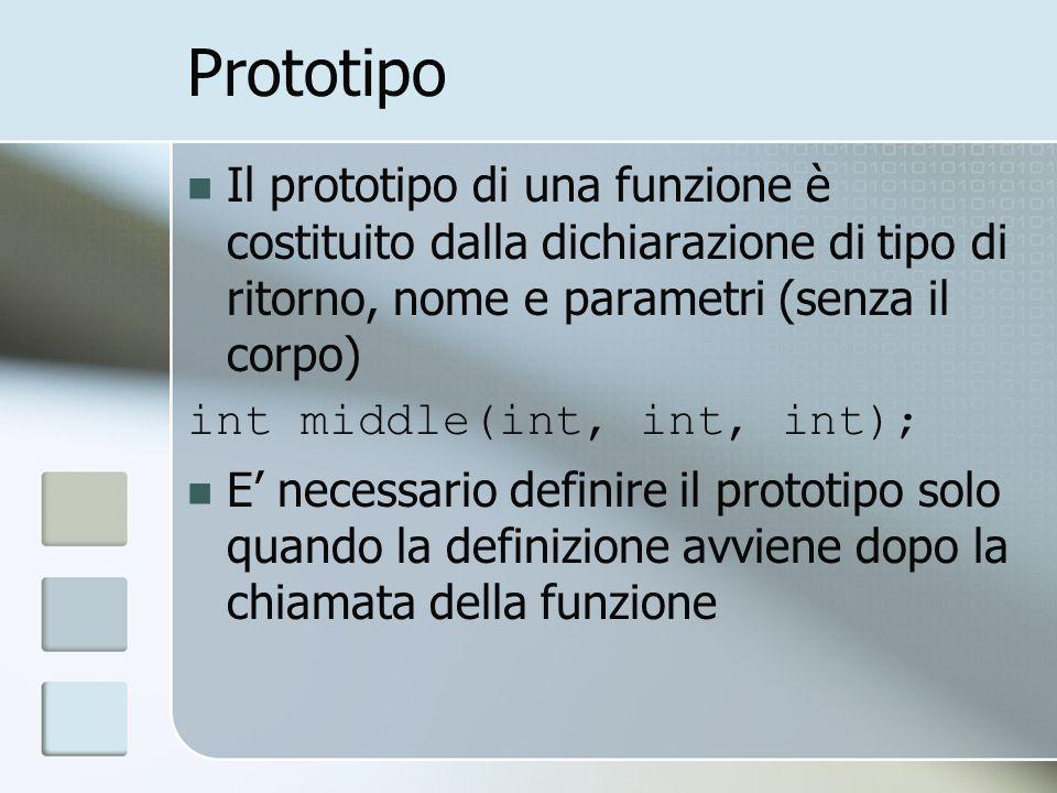 Prototipo Il prototipo di una funzione è costituito dalla dichiarazione di tipo di ritorno, nome e parametri (senza il corpo) int middle(int, int, int