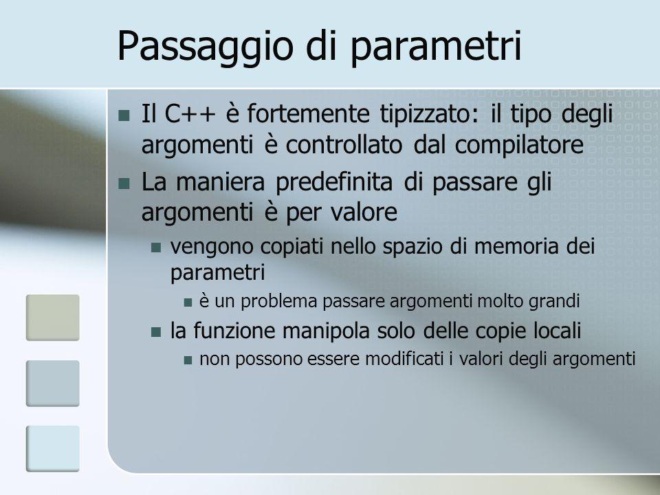 Passaggio di parametri Il C++ è fortemente tipizzato: il tipo degli argomenti è controllato dal compilatore La maniera predefinita di passare gli argo
