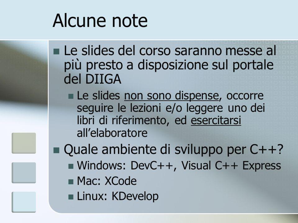 Alcune note Le slides del corso saranno messe al più presto a disposizione sul portale del DIIGA Le slides non sono dispense, occorre seguire le lezio