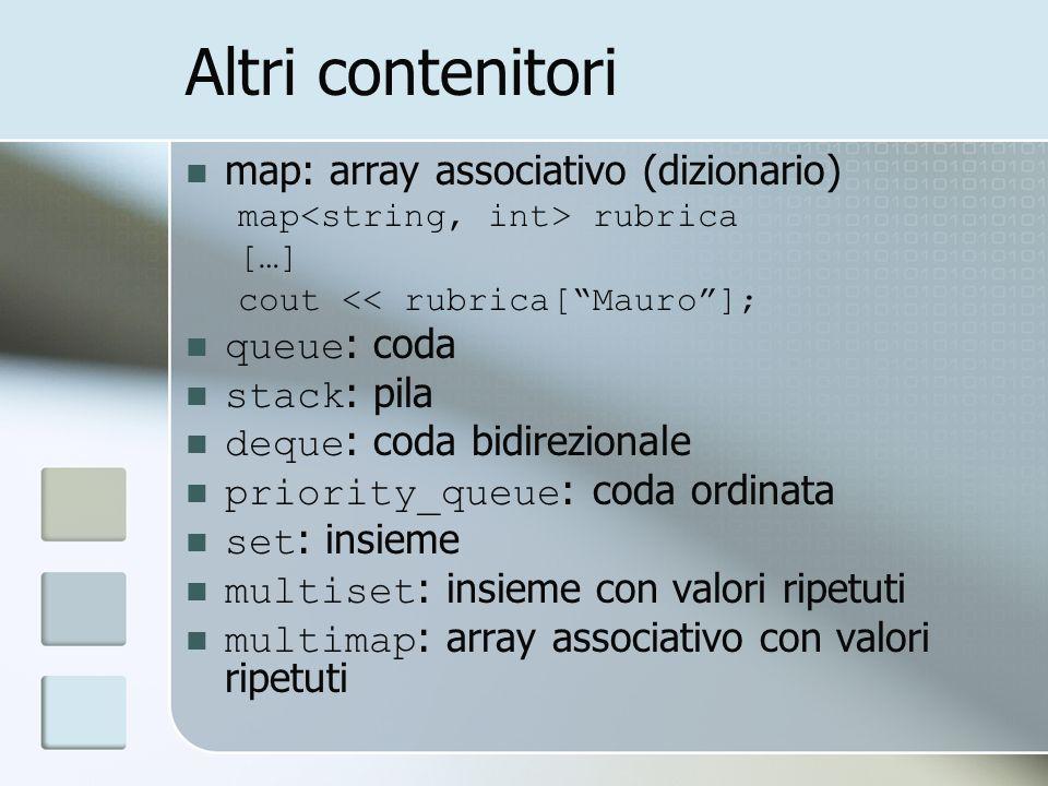 Altri contenitori map: array associativo (dizionario) map rubrica […] cout << rubrica[Mauro]; queue : coda stack : pila deque : coda bidirezionale pri