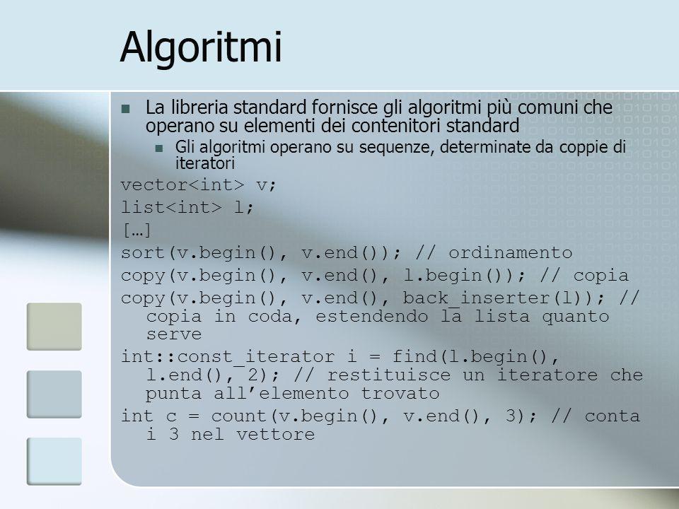 Algoritmi La libreria standard fornisce gli algoritmi più comuni che operano su elementi dei contenitori standard Gli algoritmi operano su sequenze, d