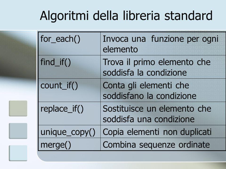 Algoritmi della libreria standard for_each()Invoca una funzione per ogni elemento find_if()Trova il primo elemento che soddisfa la condizione count_if
