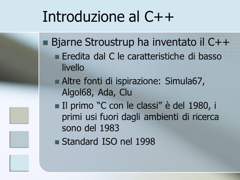 Algoritmi La libreria standard fornisce gli algoritmi più comuni che operano su elementi dei contenitori standard Gli algoritmi operano su sequenze, determinate da coppie di iteratori vector v; list l; […] sort(v.begin(), v.end()); // ordinamento copy(v.begin(), v.end(), l.begin()); // copia copy(v.begin(), v.end(), back_inserter(l)); // copia in coda, estendendo la lista quanto serve int::const_iterator i = find(l.begin(), l.end(), 2); // restituisce un iteratore che punta allelemento trovato int c = count(v.begin(), v.end(), 3); // conta i 3 nel vettore