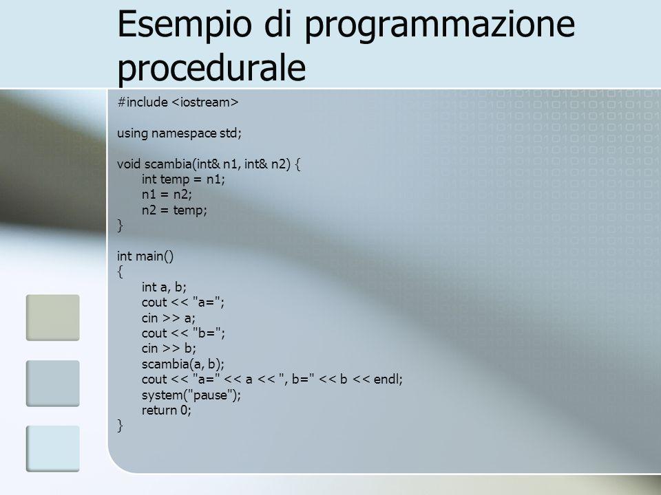 Esempio di programmazione procedurale #include using namespace std; void scambia(int& n1, int& n2) { int temp = n1; n1 = n2; n2 = temp; } int main() {