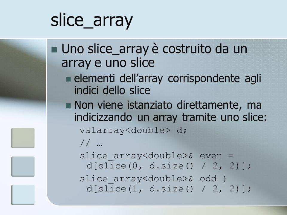 slice_array Uno slice_array è costruito da un array e uno slice elementi dellarray corrispondente agli indici dello slice Non viene istanziato direttamente, ma indicizzando un array tramite uno slice: valarray d; // … slice_array & even = d[slice(0, d.size() / 2, 2)]; slice_array & odd ) d[slice(1, d.size() / 2, 2)];