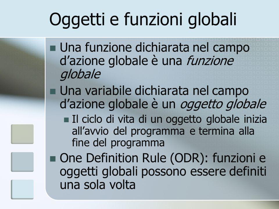 Oggetti e funzioni globali Una funzione dichiarata nel campo dazione globale è una funzione globale Una variabile dichiarata nel campo dazione globale è un oggetto globale Il ciclo di vita di un oggetto globale inizia allavvio del programma e termina alla fine del programma One Definition Rule (ODR): funzioni e oggetti globali possono essere definiti una sola volta