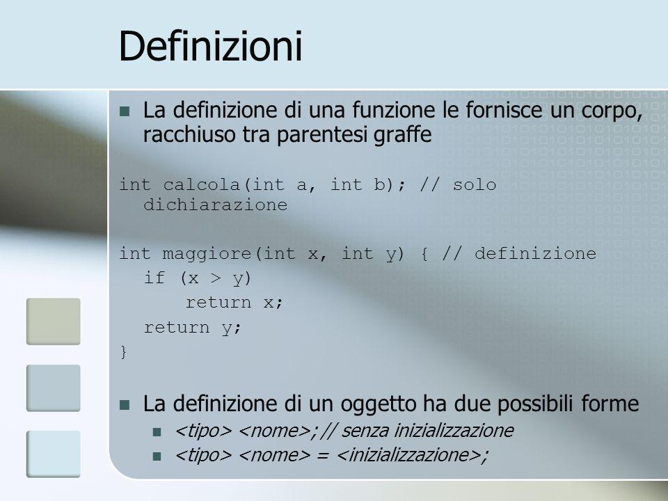 Definizioni La definizione di una funzione le fornisce un corpo, racchiuso tra parentesi graffe int calcola(int a, int b); // solo dichiarazione int maggiore(int x, int y) { // definizione if (x > y) return x; return y; } La definizione di un oggetto ha due possibili forme ; // senza inizializzazione = ;