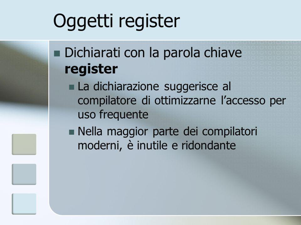 Oggetti register Dichiarati con la parola chiave register La dichiarazione suggerisce al compilatore di ottimizzarne laccesso per uso frequente Nella maggior parte dei compilatori moderni, è inutile e ridondante