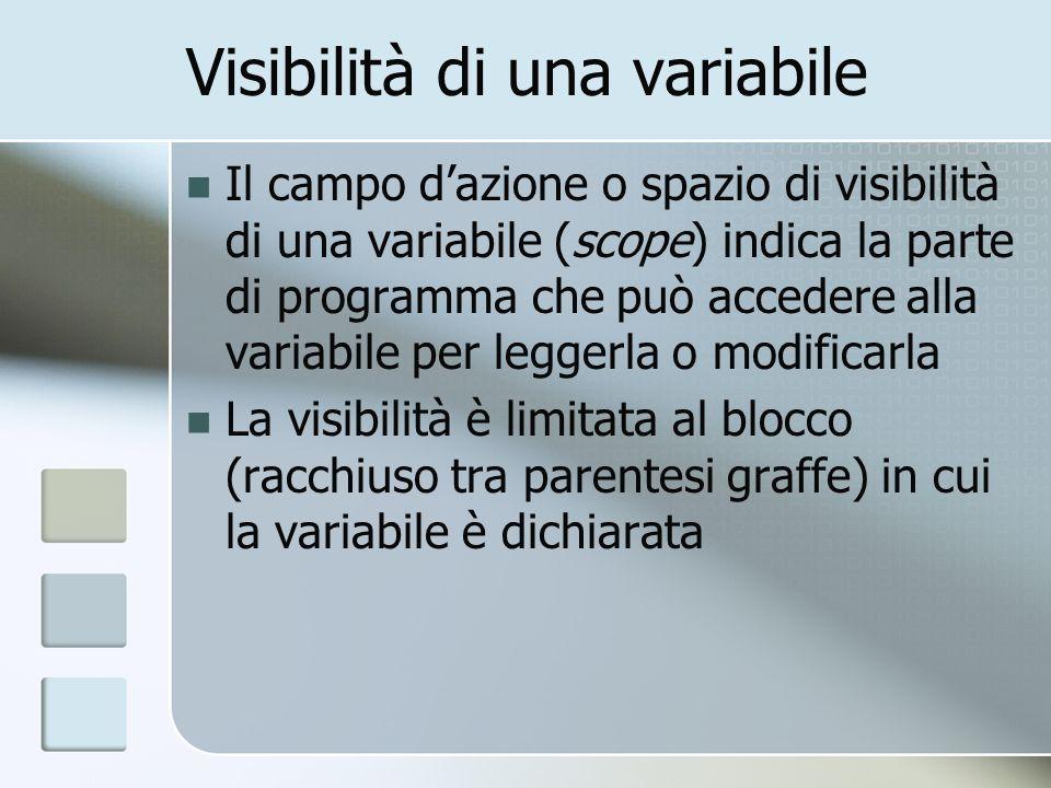 Visibilità di una variabile Il campo dazione o spazio di visibilità di una variabile (scope) indica la parte di programma che può accedere alla variabile per leggerla o modificarla La visibilità è limitata al blocco (racchiuso tra parentesi graffe) in cui la variabile è dichiarata