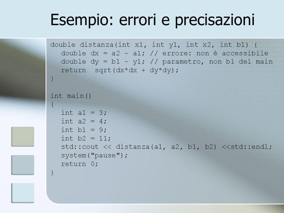 Esempio: errori e precisazioni double distanza(int x1, int y1, int x2, int b1) { double dx = a2 – a1; // errore: non è accessibile double dy = b1 - y1; // parametro, non b1 del main return sqrt(dx*dx + dy*dy); } int main() { int a1 = 3; int a2 = 4; int b1 = 9; int b2 = 11; std::cout << distanza(a1, a2, b1, b2) <<std::endl; system( pause ); return 0; }