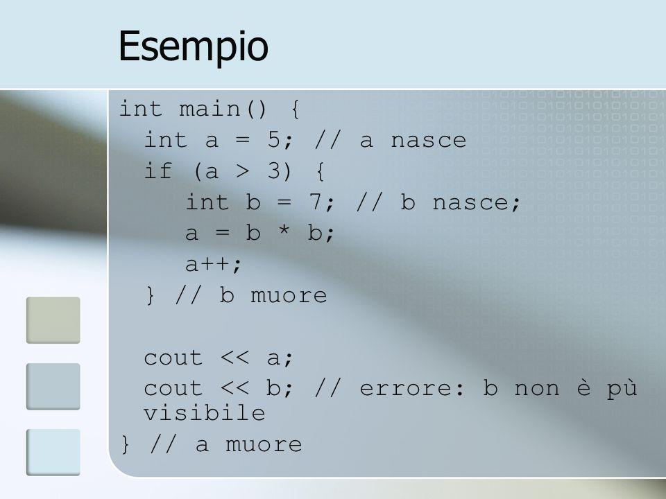 Esempio int main() { int a = 5; // a nasce if (a > 3) { int b = 7; // b nasce; a = b * b; a++; } // b muore cout << a; cout << b; // errore: b non è pù visibile } // a muore