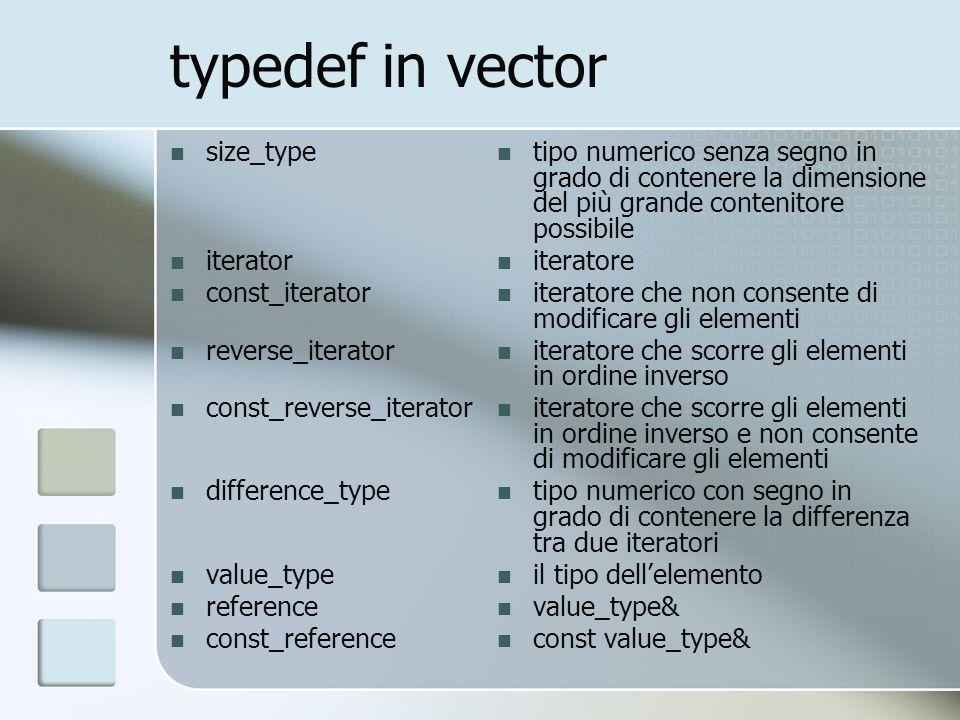 iteratori in vector v.begin() v.end() v.rbegin() r.rend() iteratore riferito al primo elemento iteratore riferito ad un elemento dopo lultimo iteratore al rovescio riferito allultimo elemento iteratore al rovescio riferito ad un elemento prima del primo di ognuno cè la versione const e la versione non const