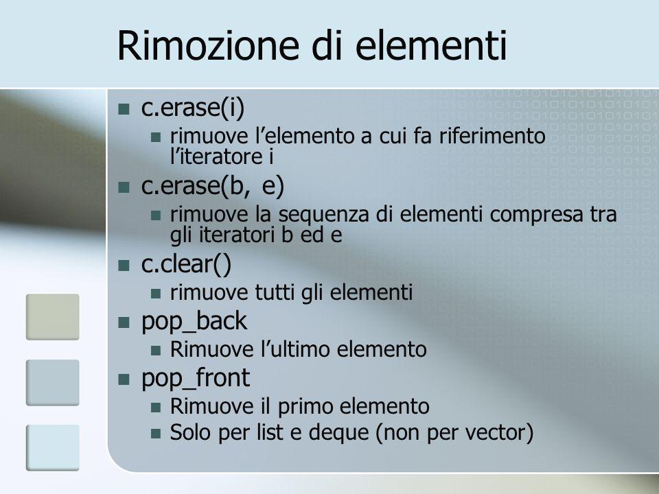 Rimozione di elementi c.erase(i) rimuove lelemento a cui fa riferimento literatore i c.erase(b, e) rimuove la sequenza di elementi compresa tra gli it