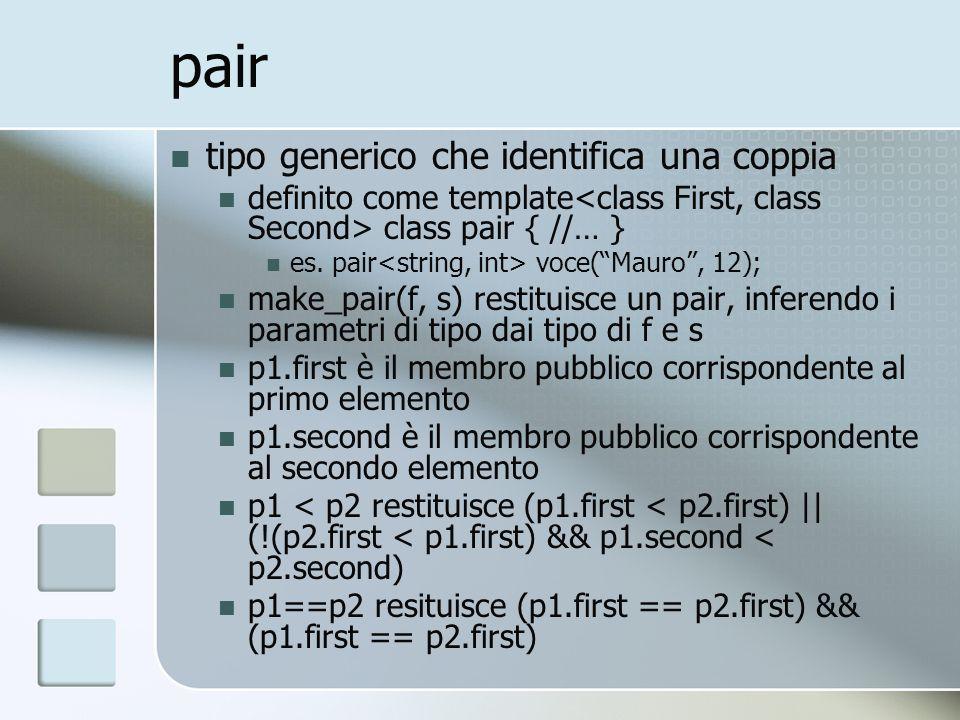 pair tipo generico che identifica una coppia definito come template class pair { //… } es. pair voce(Mauro, 12); make_pair(f, s) restituisce un pair,
