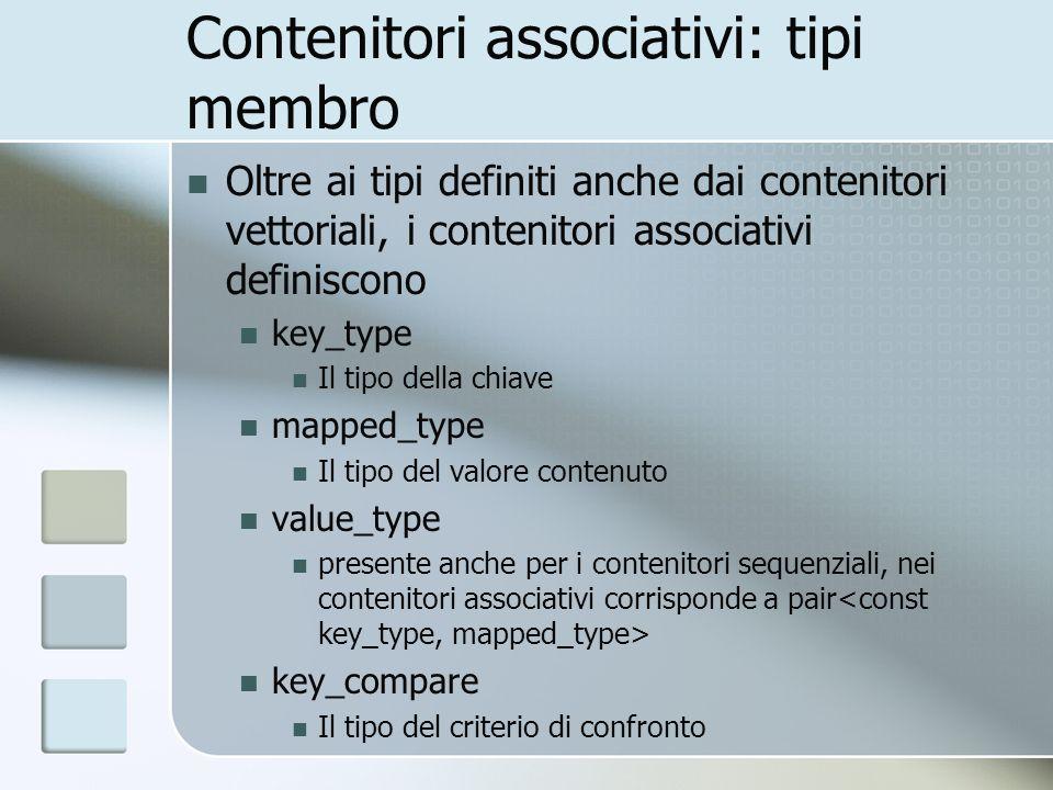 Contenitori associativi: tipi membro Oltre ai tipi definiti anche dai contenitori vettoriali, i contenitori associativi definiscono key_type Il tipo d
