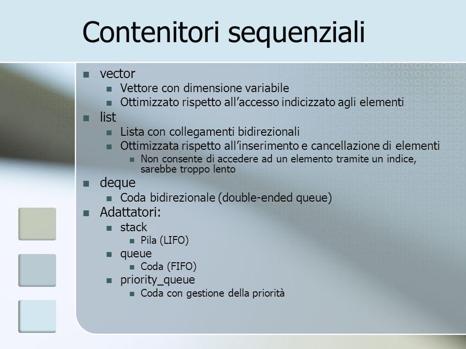 Contenitori sequenziali vector Vettore con dimensione variabile Ottimizzato rispetto allaccesso indicizzato agli elementi list Lista con collegamenti