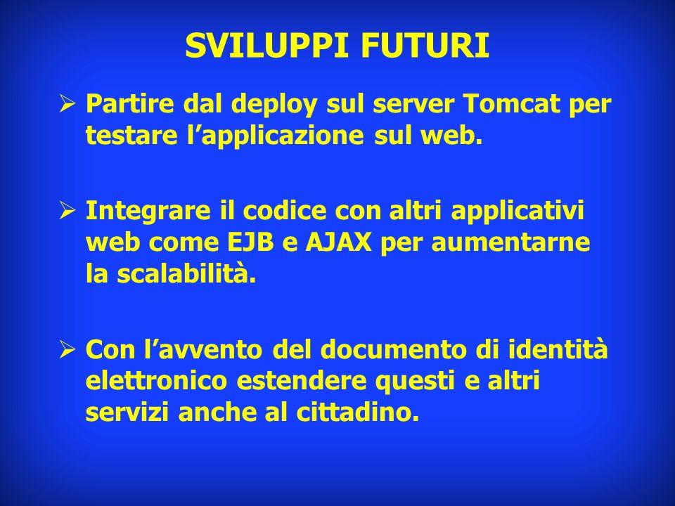 SVILUPPI FUTURI Partire dal deploy sul server Tomcat per testare lapplicazione sul web. Integrare il codice con altri applicativi web come EJB e AJAX