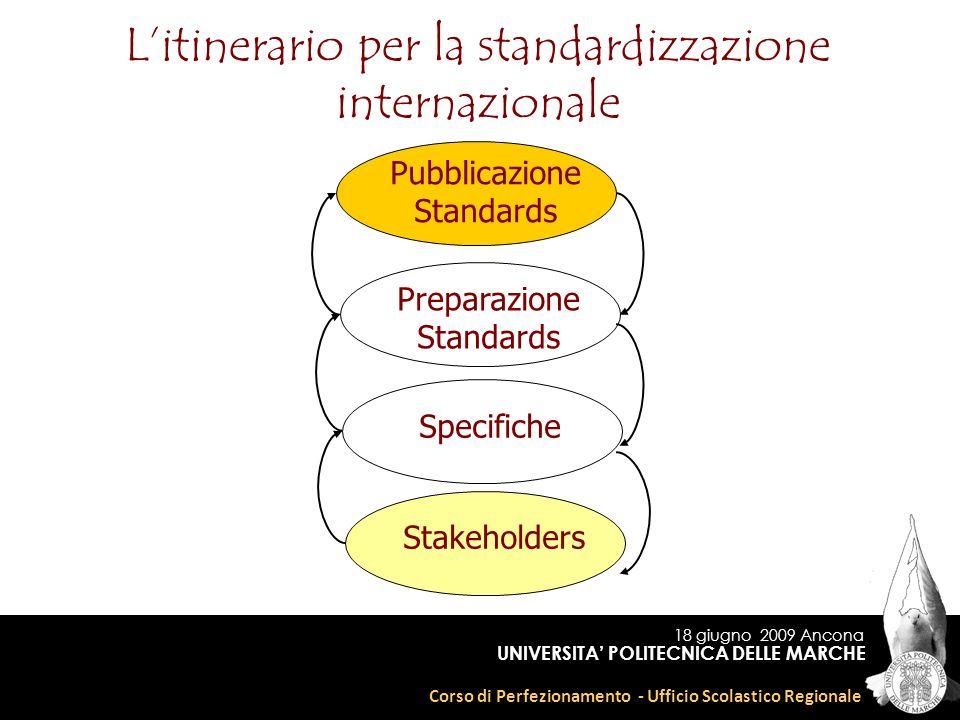 18 giugno 2009 Ancona Corso di Perfezionamento - Ufficio Scolastico Regionale UNIVERSITA POLITECNICA DELLE MARCHE Litinerario per la standardizzazione