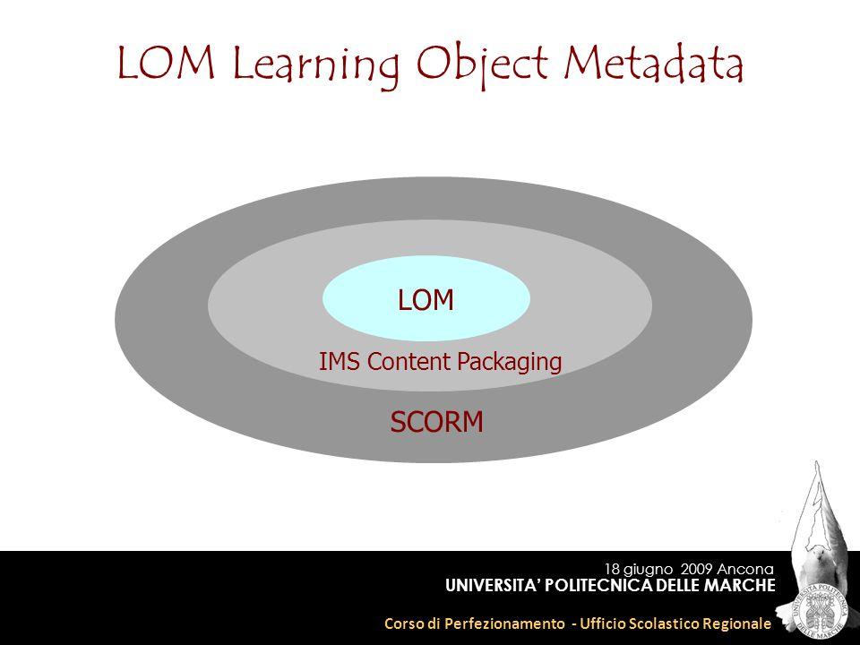 18 giugno 2009 Ancona Corso di Perfezionamento - Ufficio Scolastico Regionale UNIVERSITA POLITECNICA DELLE MARCHE LOM LOM Learning Object Metadata IMS