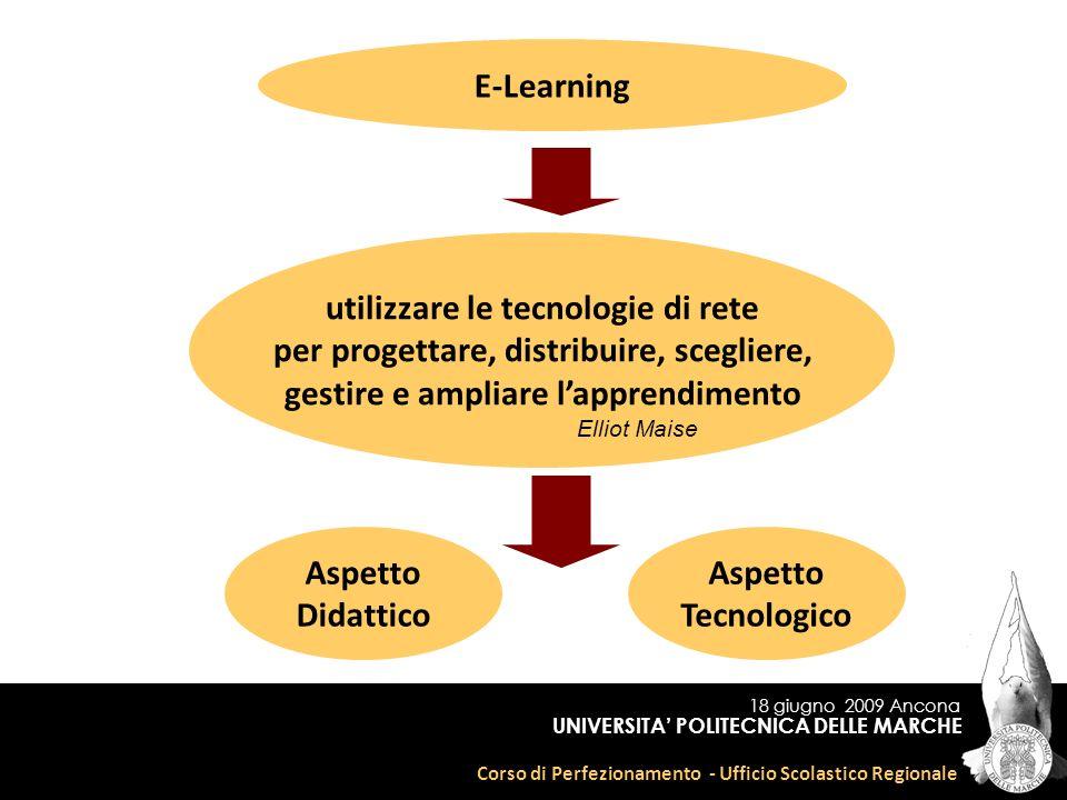 18 giugno 2009 Ancona Corso di Perfezionamento - Ufficio Scolastico Regionale UNIVERSITA POLITECNICA DELLE MARCHE E-Learning utilizzare le tecnologie