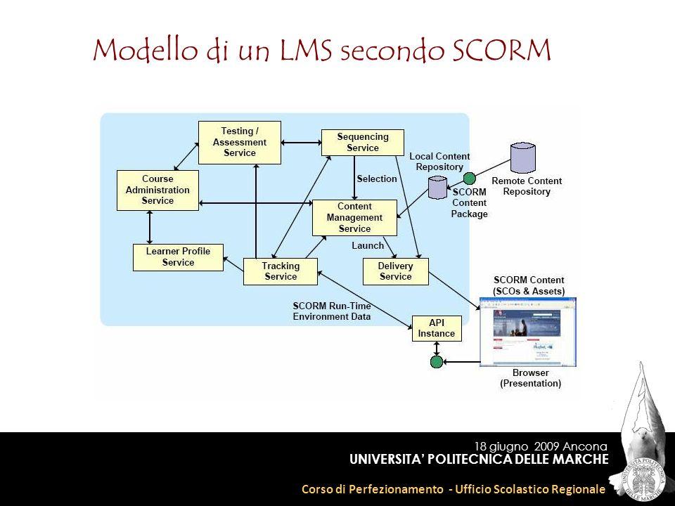 18 giugno 2009 Ancona Corso di Perfezionamento - Ufficio Scolastico Regionale UNIVERSITA POLITECNICA DELLE MARCHE Modello di un LMS secondo SCORM