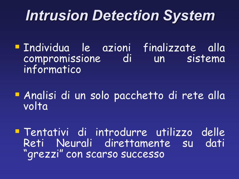 Intrusion Detection System Individua le azioni finalizzate alla compromissione di un sistema informatico Analisi di un solo pacchetto di rete alla volta Tentativi di introdurre utilizzo delle Reti Neurali direttamente su dati grezzi con scarso successo