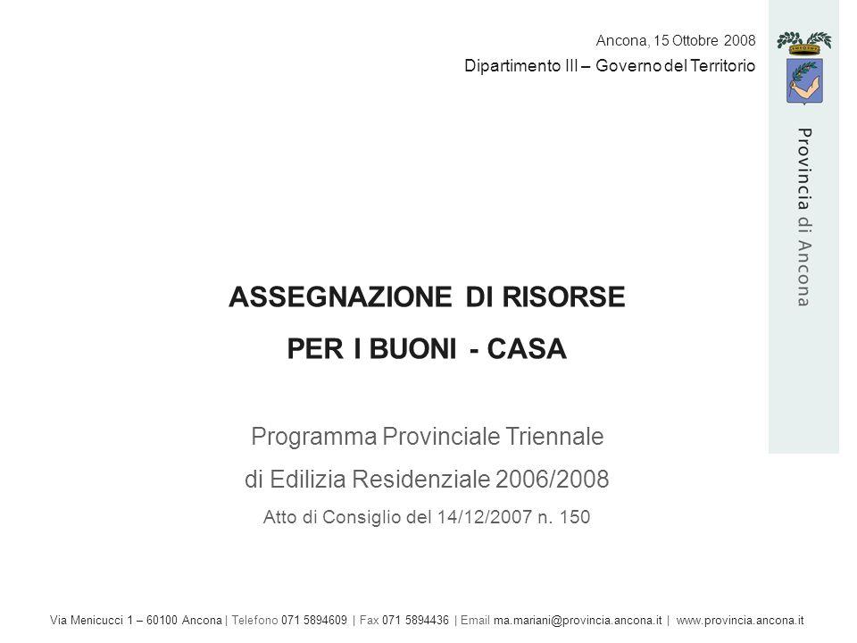 Dipartimento III – Governo del Territorio ASSEGNAZIONE DI RISORSE PER I BUONI - CASA Programma Provinciale Triennale di Edilizia Residenziale 2006/2008 Atto di Consiglio del 14/12/2007 n.