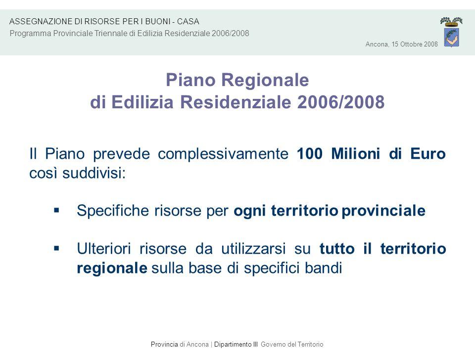 Provincia di Ancona | Dipartimento III Governo del Territorio Piano Regionale di Edilizia Residenziale 2006/2008 Il Piano prevede complessivamente 100