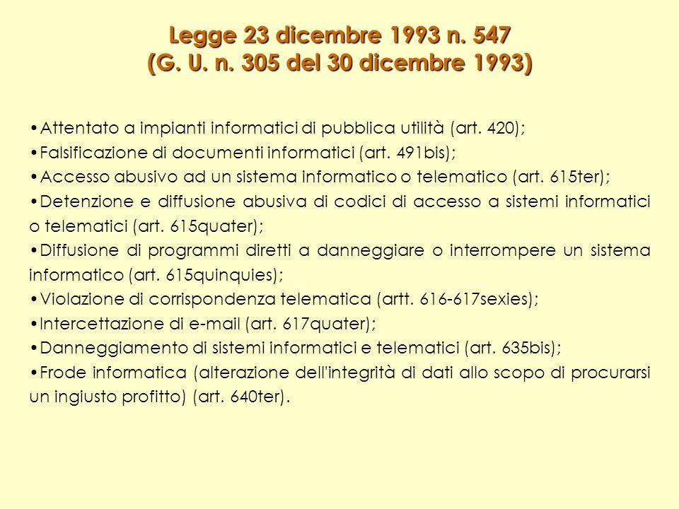 Legge 23 dicembre 1993 n. 547 (G. U. n.