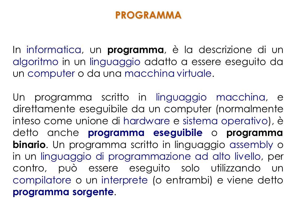In informatica, un programma, è la descrizione di un algoritmo in un linguaggio adatto a essere eseguito da un computer o da una macchina virtuale.