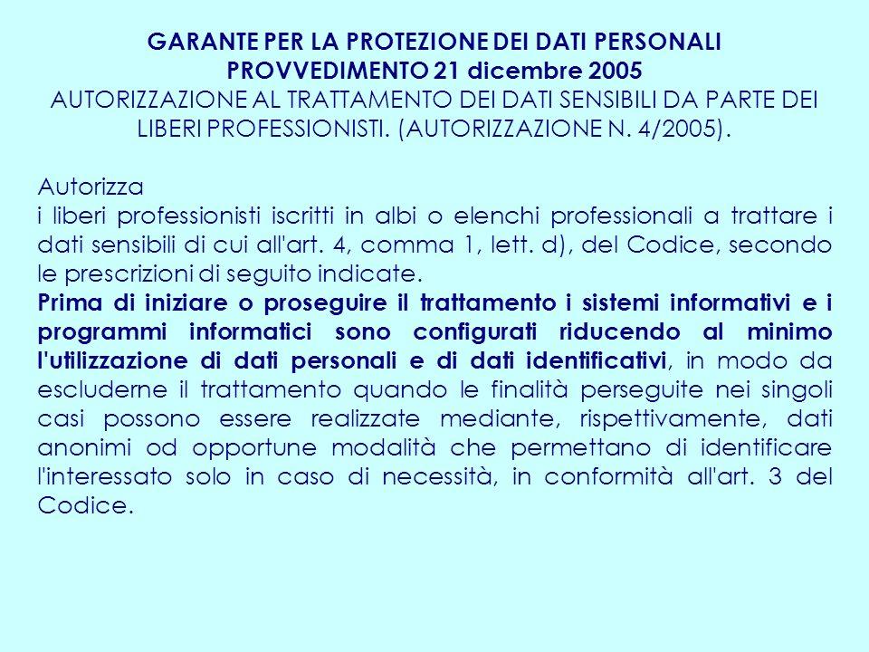 GARANTE PER LA PROTEZIONE DEI DATI PERSONALI PROVVEDIMENTO 21 dicembre 2005 AUTORIZZAZIONE AL TRATTAMENTO DEI DATI SENSIBILI DA PARTE DEI LIBERI PROFESSIONISTI.