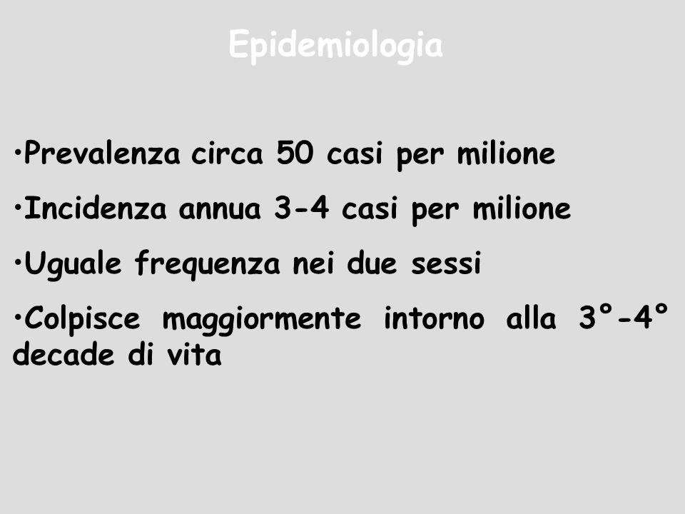 Epidemiologia Prevalenza circa 50 casi per milione Incidenza annua 3-4 casi per milione Uguale frequenza nei due sessi Colpisce maggiormente intorno a