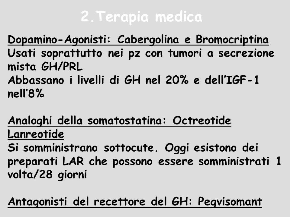 2.Terapia medica Dopamino-Agonisti: Cabergolina e Bromocriptina Usati soprattutto nei pz con tumori a secrezione mista GH/PRL Abbassano i livelli di G
