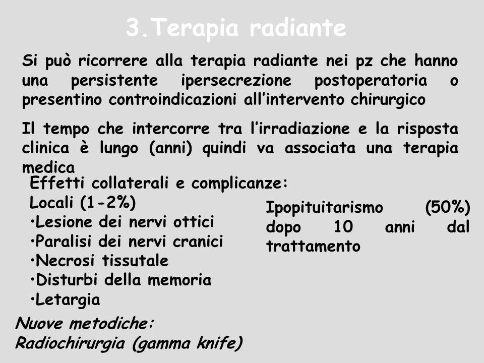 3.Terapia radiante Si può ricorrere alla terapia radiante nei pz che hanno una persistente ipersecrezione postoperatoria o presentino controindicazion