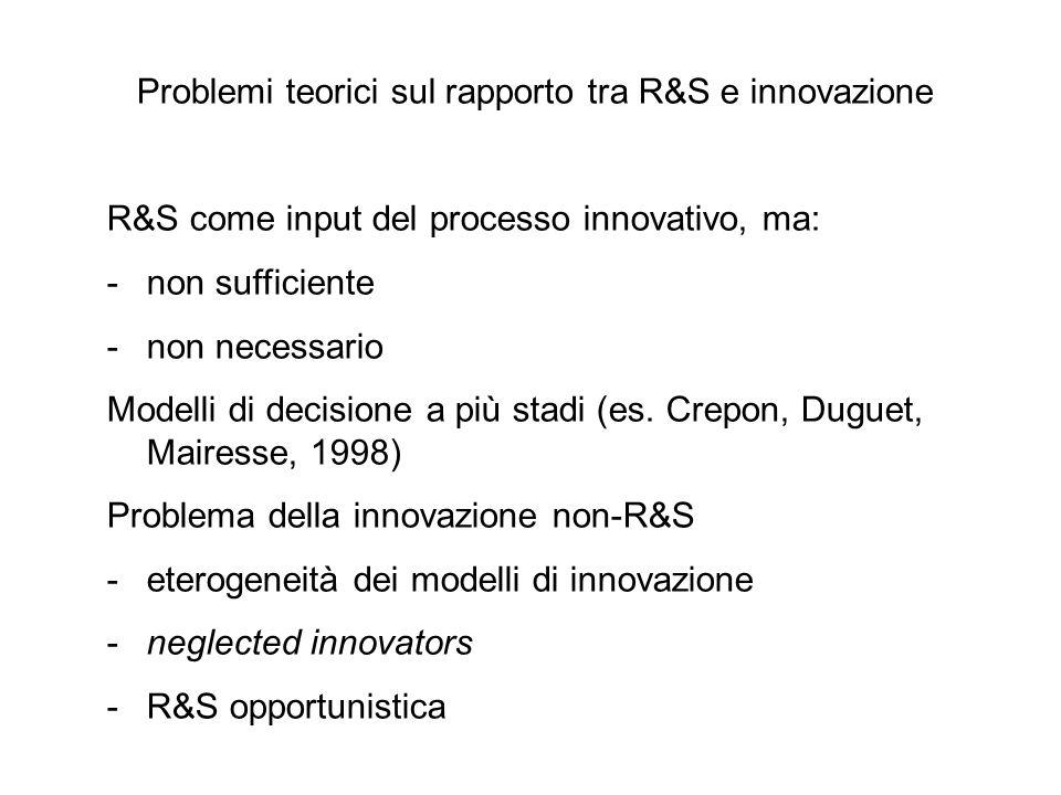 Problemi teorici sul rapporto tra R&S e innovazione R&S come input del processo innovativo, ma: -non sufficiente -non necessario Modelli di decisione a più stadi (es.