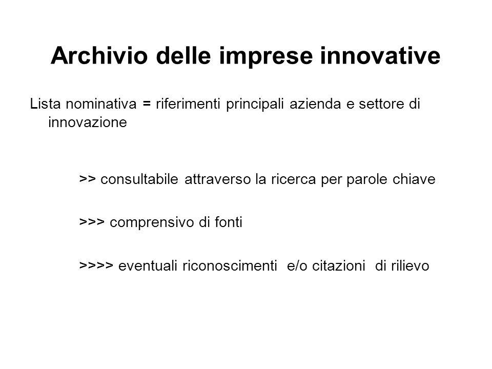 Archivio delle imprese innovative Lista nominativa = riferimenti principali azienda e settore di innovazione >> consultabile attraverso la ricerca per parole chiave >>> comprensivo di fonti >>>> eventuali riconoscimenti e/o citazioni di rilievo