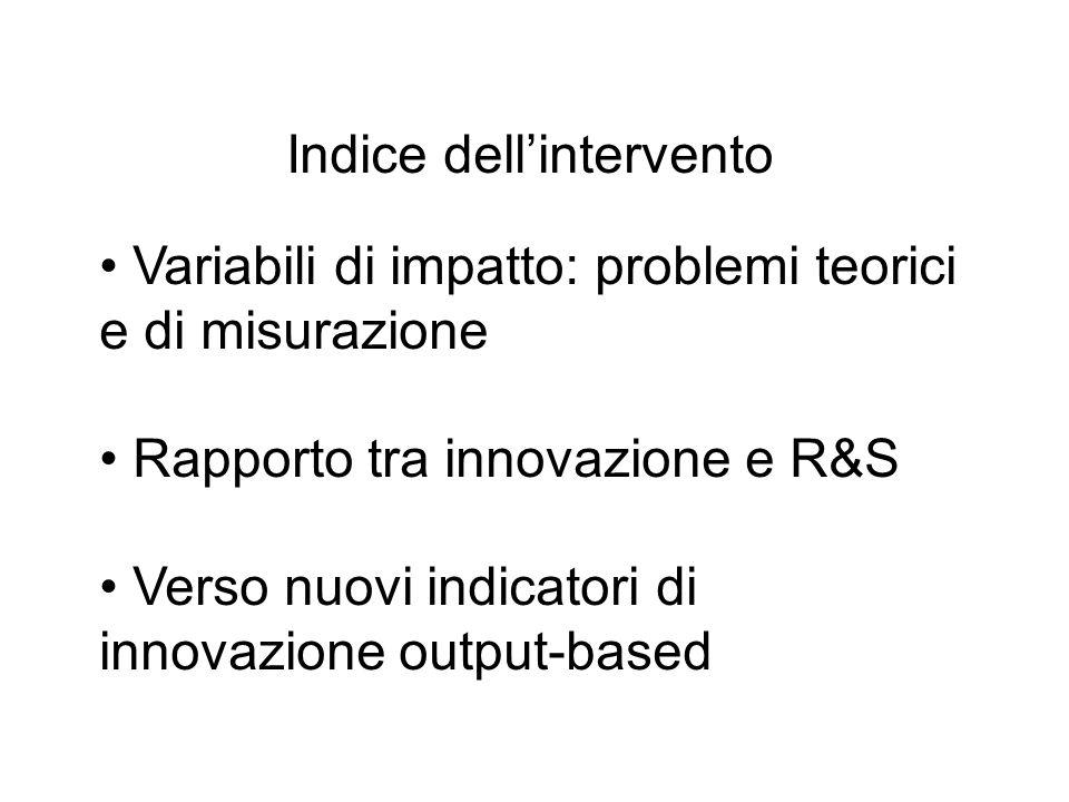 Indice dellintervento Variabili di impatto: problemi teorici e di misurazione Rapporto tra innovazione e R&S Verso nuovi indicatori di innovazione out